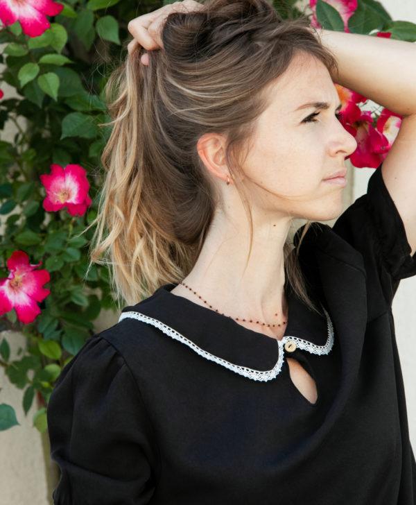 April et C. blouse noire 100% tencel, Justine, fabriqué en France, biodégradable