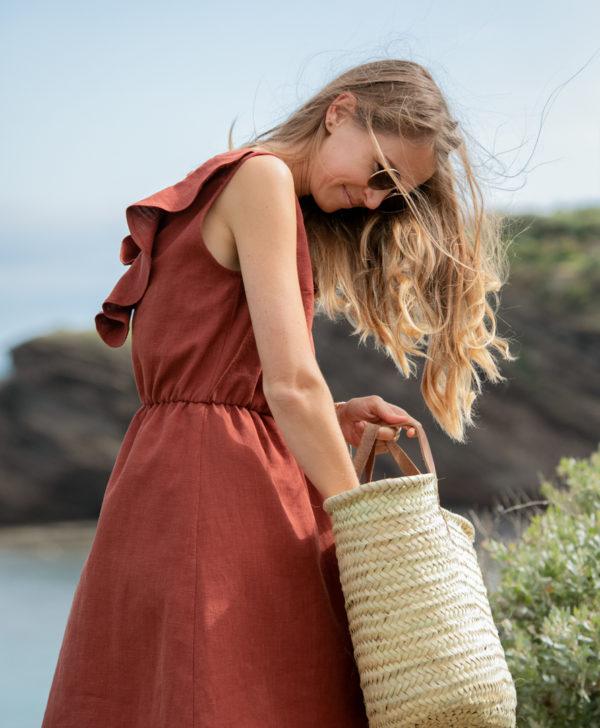 April et C. robe 100% lin Mathilde, sépia, éco-responsable, fabriqué en France