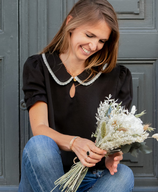 April et C. blouse Justine noire 100% tencel, fabriqué en France, biodégradable