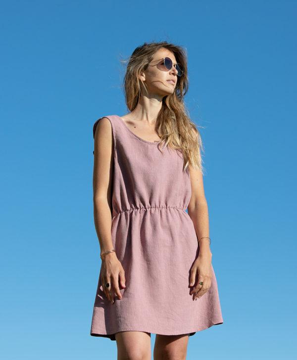 April et C. robe 100% lin Mathilde, vieux rose, éco-responsable, fabriqué en France