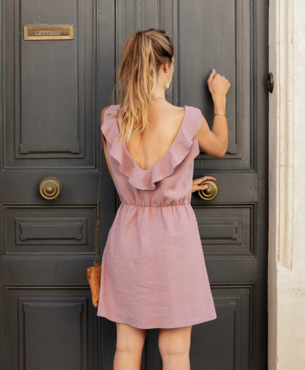 Robe En Lin Mathilde Vieux Rose April Et C Made In France Ecoresponsable