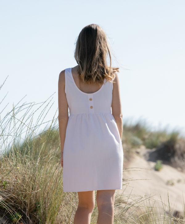 April et C. robe courte rose poudre boutons bois coton biologique GOTS fabriquee en France