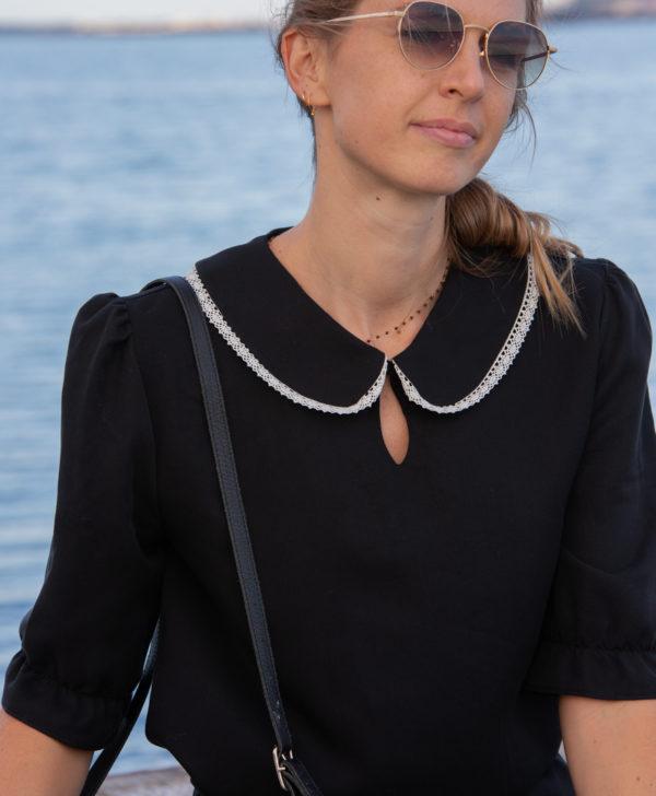 April-et-C. robe Justine Tencel col Claudine dentelle fabriqué en France