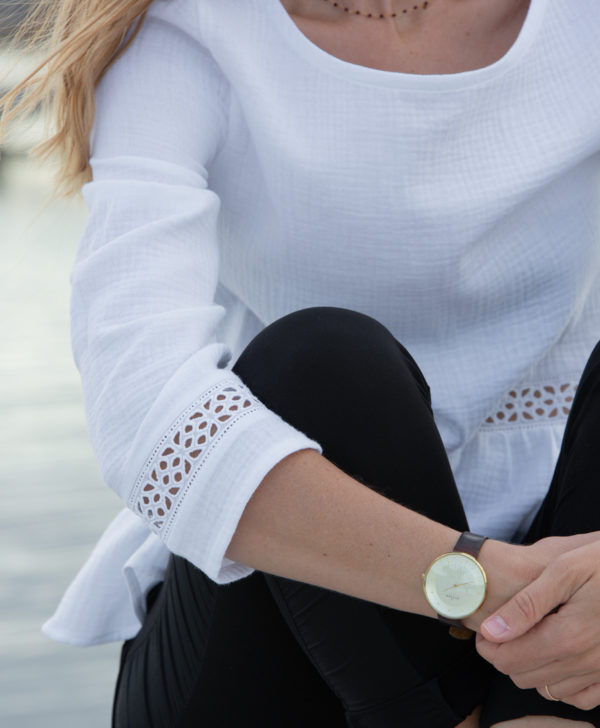 Blouse blanche femme coton biologique GOTS fabriquée en France