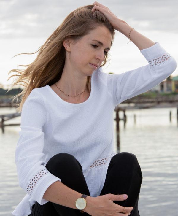 Blouse blanche femme double gaze coton biologique GOTS fabriquée en France