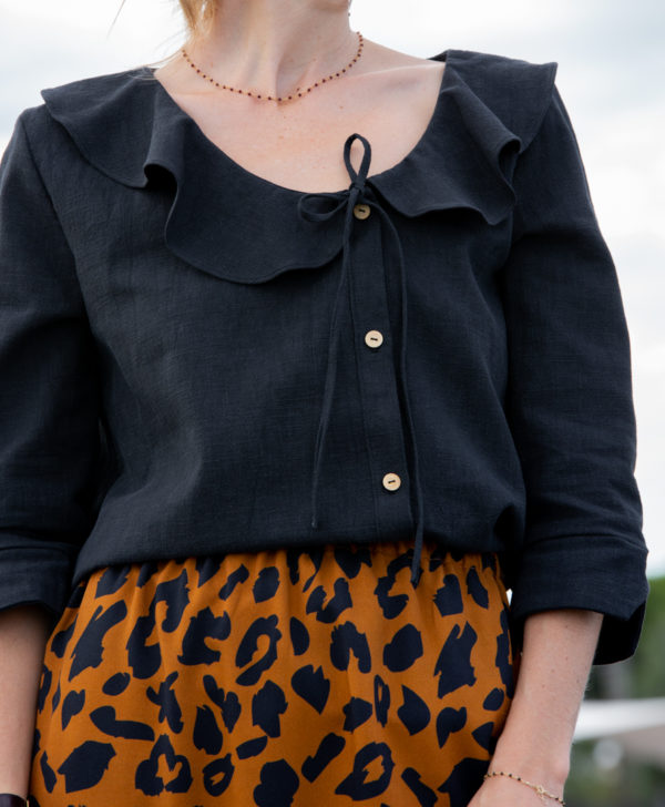 Blouse noir 100% lin April & C manches 3/4 made in France biodegradable