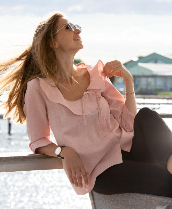 Chemise rose 100% lin à volants fabriquée en France