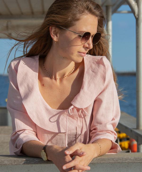 Chemise rose en lin à volants fabriquée en France