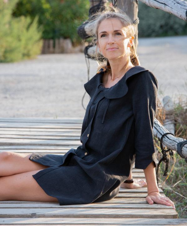 Robe noir 100% lin April & C fabriquée en France biodegradable
