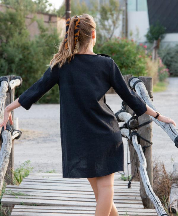 Robe noir 100% lin April & C made in France biodegradable