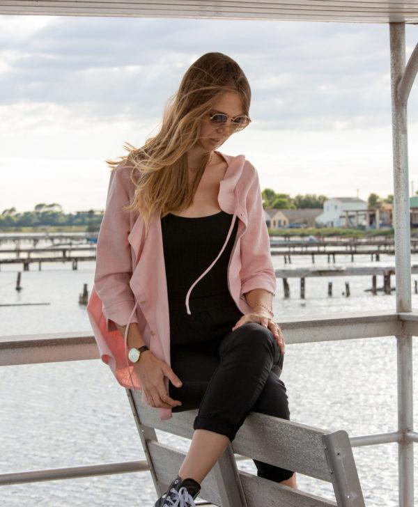 Sur-Chemise rose 100% lin à volants fabriquée en France