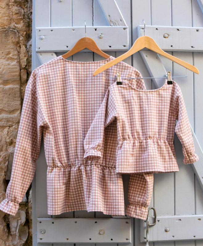 Duo Mère fille blouse à carreaux en flanelle de coton biologique GOTS
