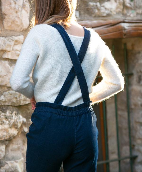 Pantalon femme bretelles amovibles bleu marine velours côtelé coton biologique GOTS Eco responsable