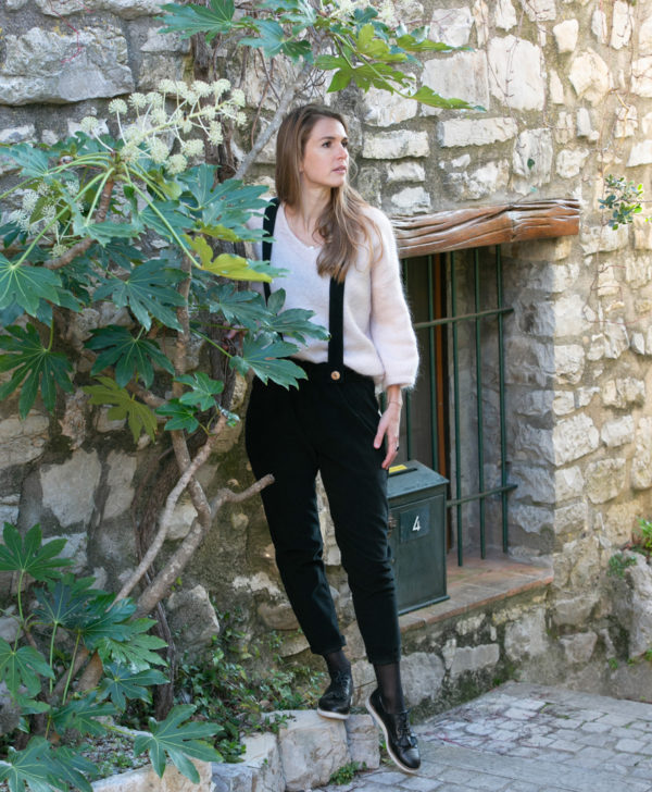 Pantalon femme bretelles amovibles noir velours côtelé coton biologique GOTS Eco responsable