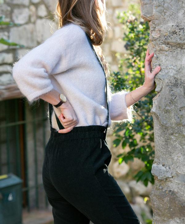 Pantalon femme bretelles amovibles noir velours côtelé coton biologique GOTS fabriquée en France