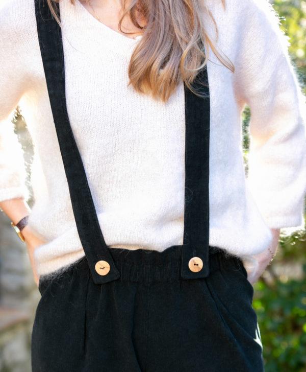 Pantalon femme bretelles amovibles noir velours côtelé coton biologique GOTS made in France