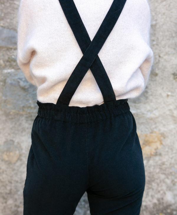 Pantalon femme bretelles amovibles noir velours côtelé coton biologique GOTS petites series