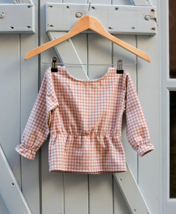 Petite fille blouse à carreaux en flanelle de coton biologique GOTS made in France du 3 au 10 ans