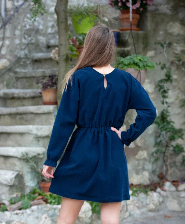 Robe femme bleu marine velours côtelé coton biologique GOTS eco-responsable