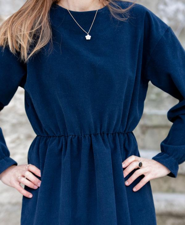 Robe femme bleu marine velours côtelé coton biologique GOTS fabriquee en France