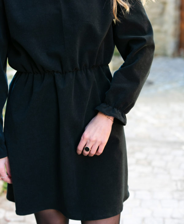Robe femme noir velours côtelé coton biologique GOTS Eco responsable