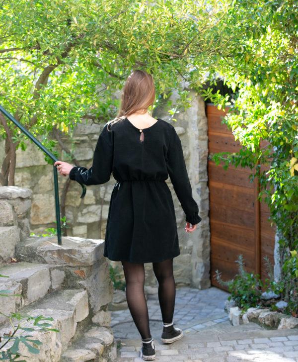Robe patineuse femme noir velours côtelé coton biologique GOTS Eco responsable fabriquée en France