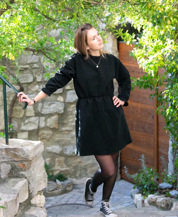 Robe patineuse femme noir velours côtelé coton biologique GOTS Eco responsable fait main