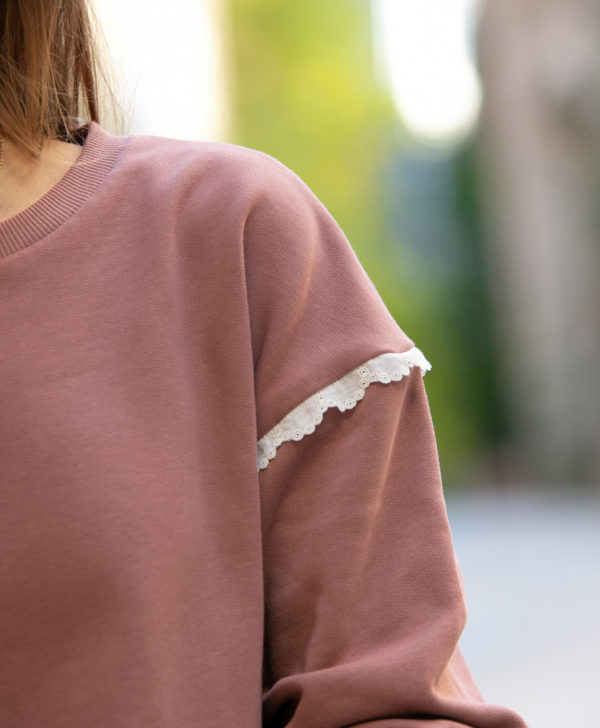 Sweat femme vieux rose broderie anglaise coton biologique GOTS Eco responsable made in France fait main