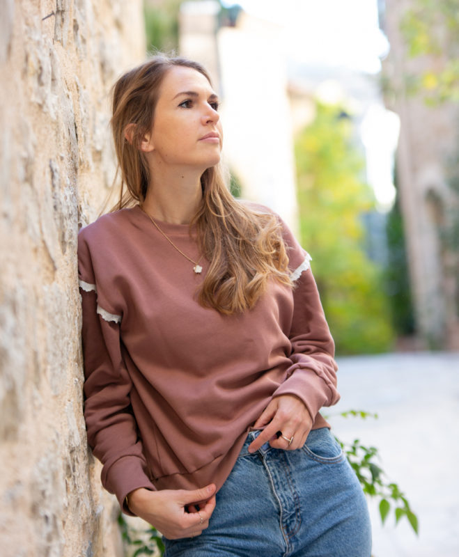 Sweat femme vieux rose broderie anglaise coton biologique GOTS biodegradable made in France petites séries