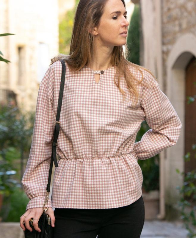 blouse femme carreaux flanelle coton biologique GOTS Eco responsable fait main en France